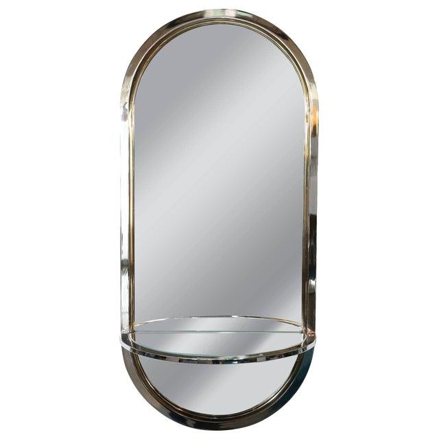 Mid Century Modern Design Institute America Chrome & Brass Mirror with Mirror Console - Image 1 of 11