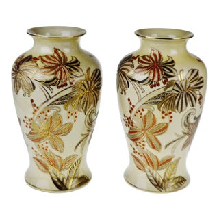 Vintage Japanese Ceramic Moriage Vases - a Pair For Sale