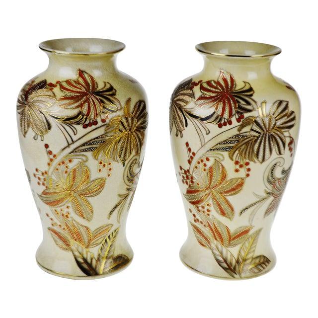 Vintage Japanese Ceramic Moriage Vases A Pair Chairish