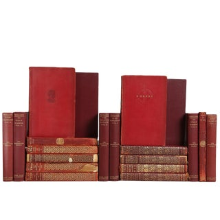 Distressed Crimson Book Collections - Set of 20 For Sale