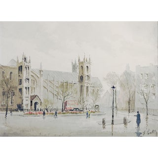 English Cathedral Watercolor Painting For Sale