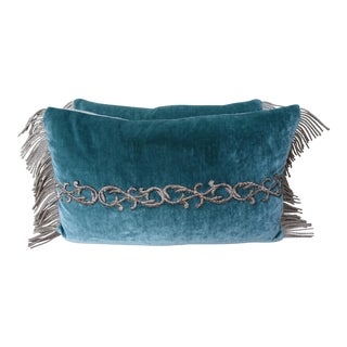 Teal velvet metallic appliquéd beaded pillows - a Pair