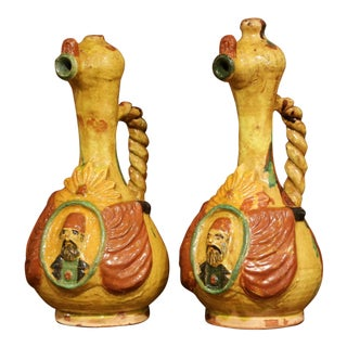 Early 20th Century Turkish Ceramic Hand-Painted Oil Pitchers With Handles, Pair For Sale