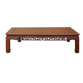 Chinese Oriental Large Rectangular Huali Rosewood Low Coffee Table For Sale