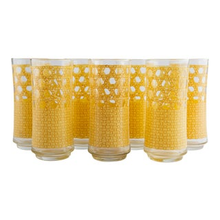 1970's Rattan Caned Pattern Glasses For Sale