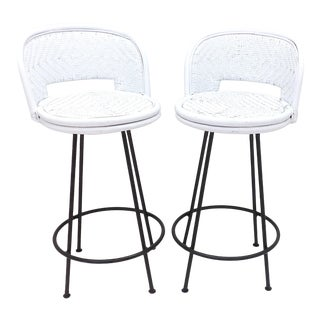 Mid Century Modern Black & White Wrought Iron Swivel Base Rattan Wicker Bar Stools- A Pair For Sale