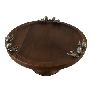 Holiday Teak Pedestal Serving Plate With Acorn Accents For Sale