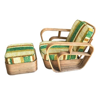 Paul Frankl Style Square Pretzel Rattan Lounge Chair & Ottoman For Sale