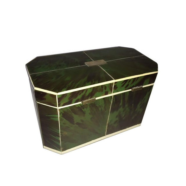 Mid 18th Century Regency Faux Green Tortoiseshell and Bone Tea Caddy For Sale In Dallas - Image 6 of 7