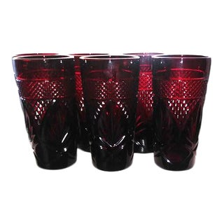 Antique Ruby Glasses by Cristal d'Arques-Durand - Set of 6 For Sale