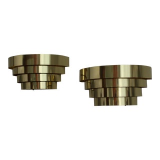 Lightolier Art Deco Style Brass Wall Sconces - a Pair For Sale