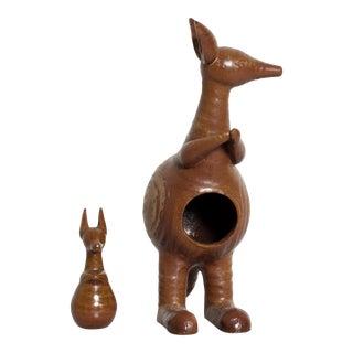 Mid-Century Danish Modern Kangaroo & Joey Ceramic Pottery by Lisa Larson for Gustavberg For Sale