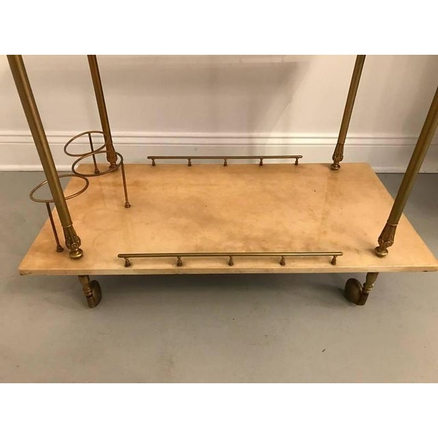 1960s Aldo Tura Brass and Parchment Bar Cart For Sale - Image 5 of 9