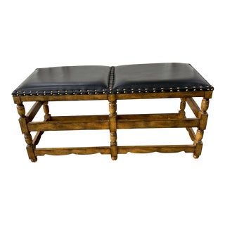 Bronze Nailheads Trim Classic Leather Wood Bench For Sale