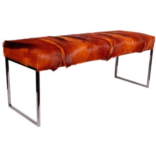 African Springbok Fur Bench in Vibrant Burnt Orange For Sale