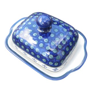 Boleslawiec Polish Pottery Butter Dish With Lid in Blue Green and White For Sale