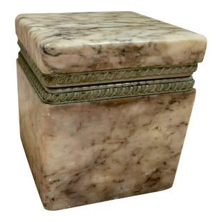 20th Century Hollywood Regency Lavender Grey Hinged Stone Box For Sale