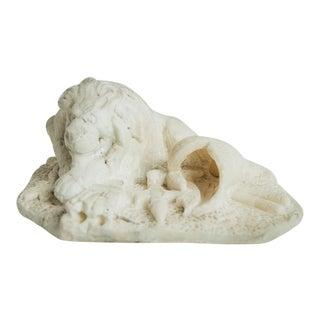 CARVED ALABASTER LION For Sale