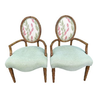 Faux Bamboo Lane Venture Bergere Chairs-Pair For Sale