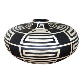 Black & White Patterned Mexican Wooden Pot