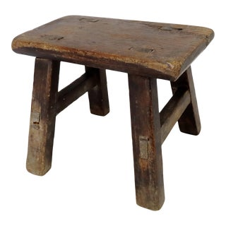 Antique American Country Primitive Wood Milking Stool For Sale