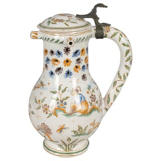 18th Century French Moustiers Faience Pitcher For Sale