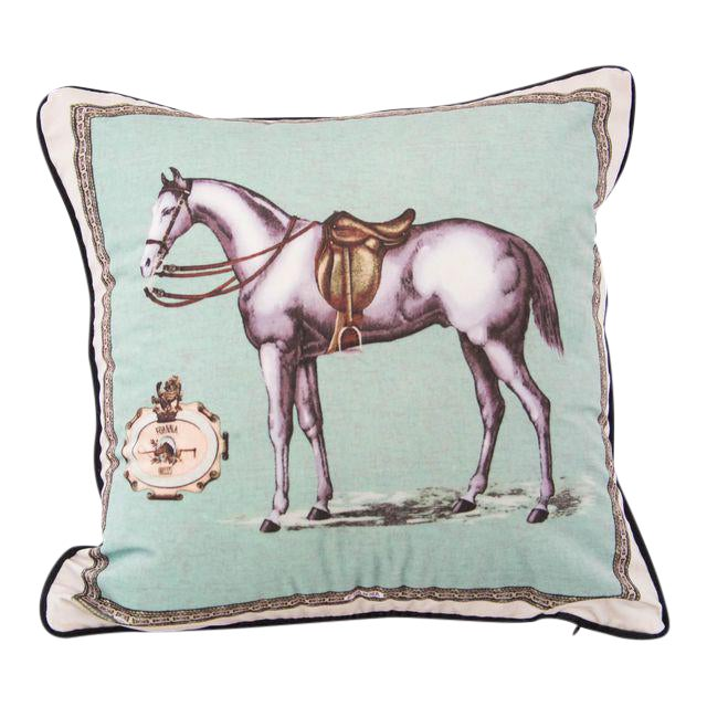 English Horse Pillow Cover For Sale - Image 3 of 3