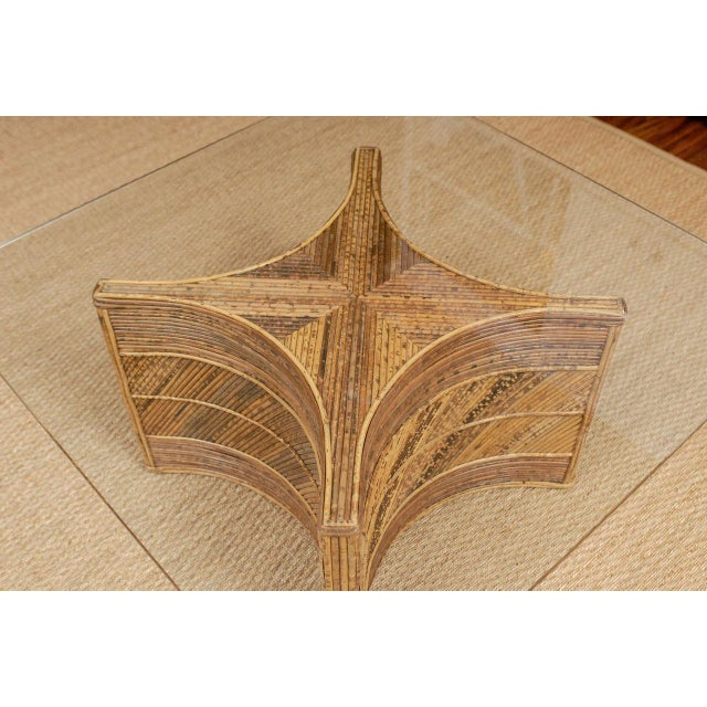 Wood Elegant Vintage Bamboo Coffee Table For Sale - Image 7 of 11