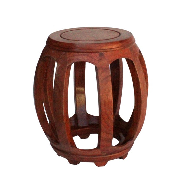 Brown Chinese Oriental Brown Stain Wood Curved Barrel Shape Stool For Sale - Image 8 of 8