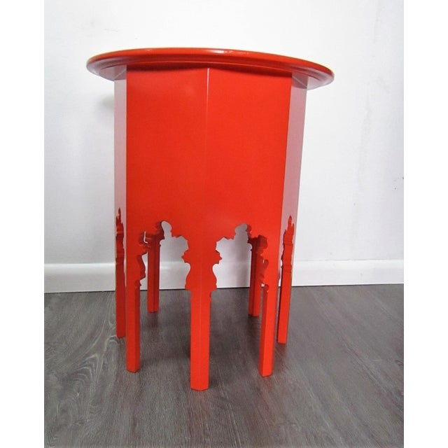 Moroccan Style Wood Table , New Orange Lacquer Finish For Sale - Image 4 of 5