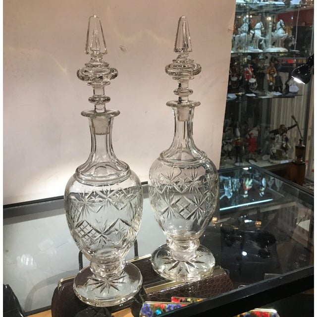 Traditional 19th Century European Cut Glass Claret Decanters - a Pair For Sale - Image 3 of 10