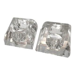 Faceted Crystal Pyramid Votive Candle Holders by Oleg Cassini - a Pair For Sale