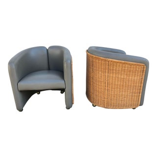 Mid-Century Rattan Barrel Chairs - a Pair For Sale