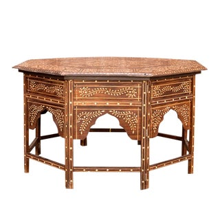 Bone Inlay Octagonal Star Coffee Table For Sale