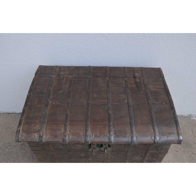Mid 20th Century Mid Century Weathered Bronze Clad Wood Trunk For Sale - Image 5 of 8
