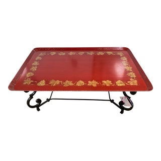 Chinese Brunschwig and Fils Red Lacquered Tray Top Coffee Table With Scrolling Metal Base For Sale