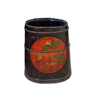 Distressed Chinese Tibetan Barrel Shape Black Floral Bucket Wood Container For Sale