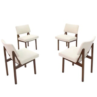 Set of Four Mid-Century Modern Side Chairs New Upholstery For Sale