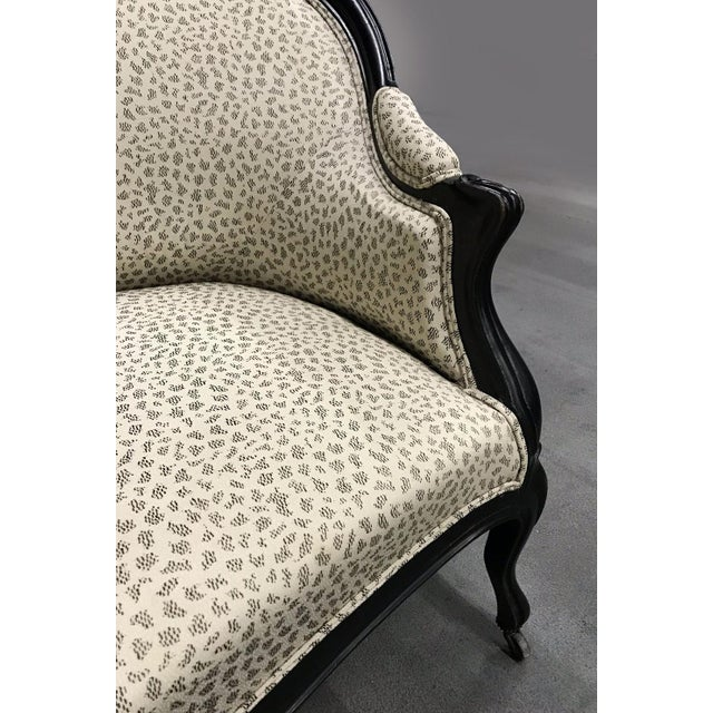 Antique Settee With Contemporary Upholstery For Sale In Atlanta - Image 6 of 12