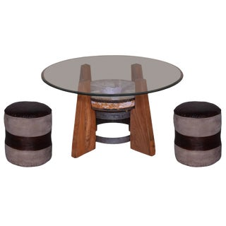 Leather Poufs With Coffee Table - Set of 3 For Sale