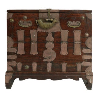 Antique Korean Bandaji Metal Mounted Chest With Brass Fish Lock For Sale