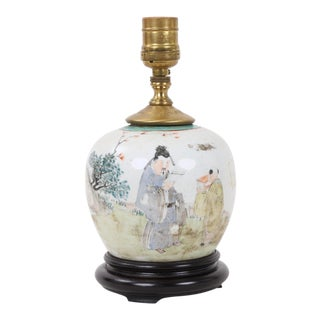 Vintage Chinese Famille Rose With Master and Pupil Designed Melon Jar Lamp For Sale