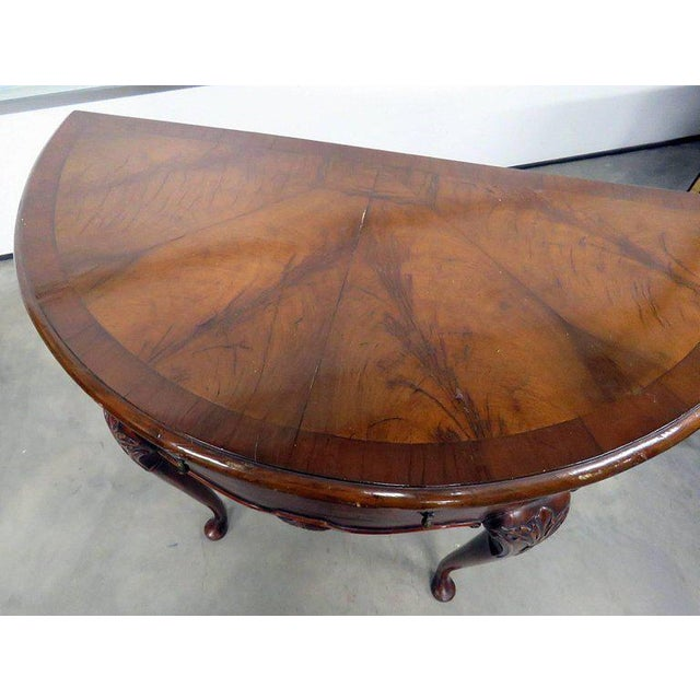 Brown Queen Anne Burl Walnut Demilune Console Table For Sale - Image 8 of 10