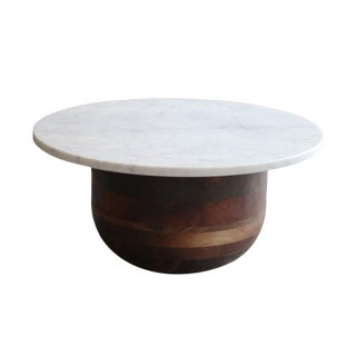 Bertrand Modern Marble and Walnut Side Table For Sale