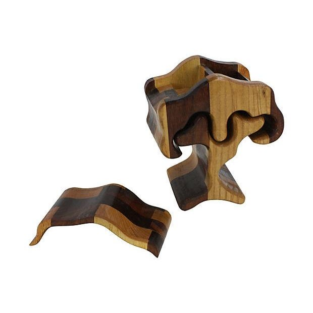 1970s Hand-Carved Puzzle Box Tree - Image 2 of 4