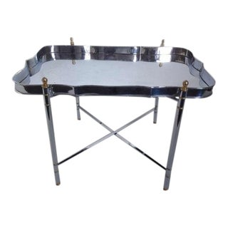 Jansen Chrome and Brass Tray Table For Sale