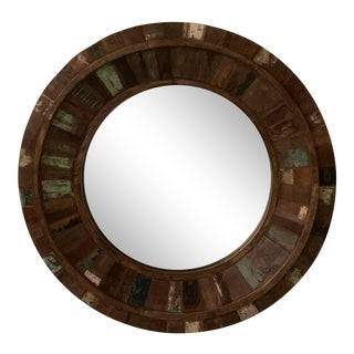 Rustic Reclaimed Wood Round Mirror For Sale