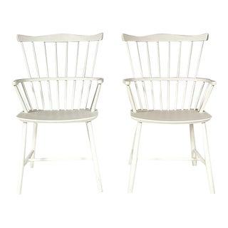 Børge Mogensen White Windsor Chairs, Pair