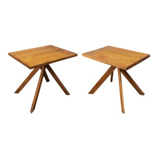 Pair of Elm Tables , Model T27a by Pierre Chapo For Sale
