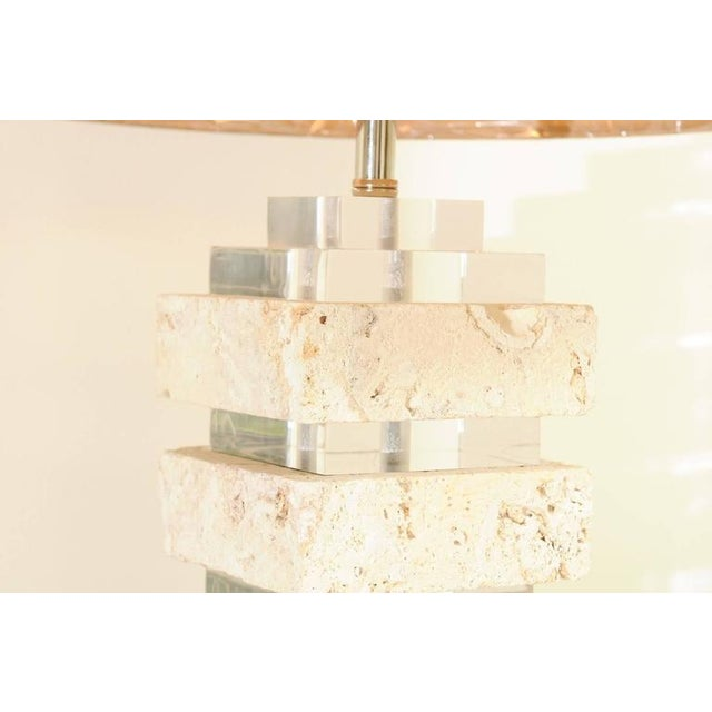Restored Pair of Vintage Limestone and Lucite Lamps with Blown Glass Finials For Sale In Atlanta - Image 6 of 9